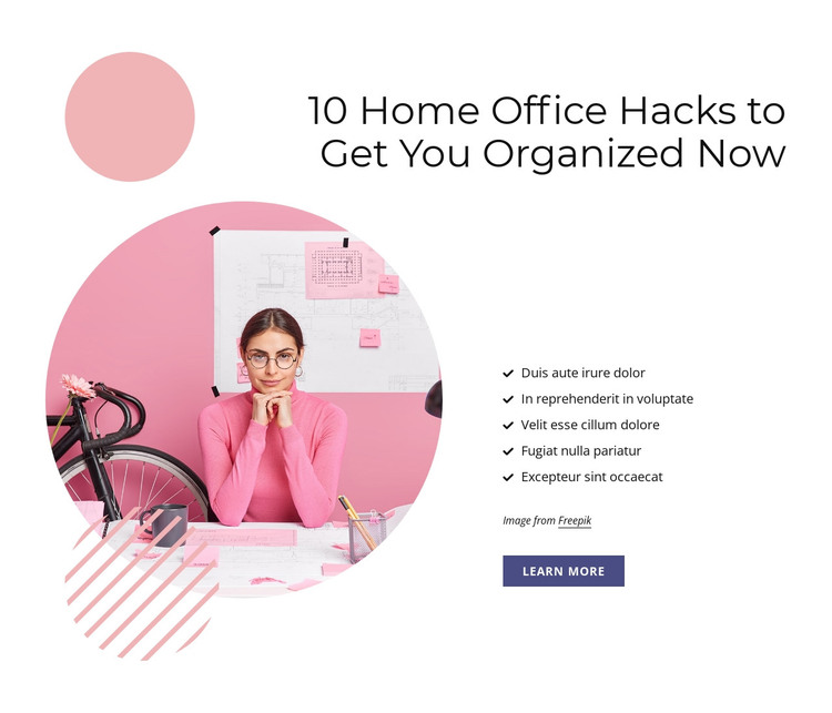 10 Home office hacks HTML Template