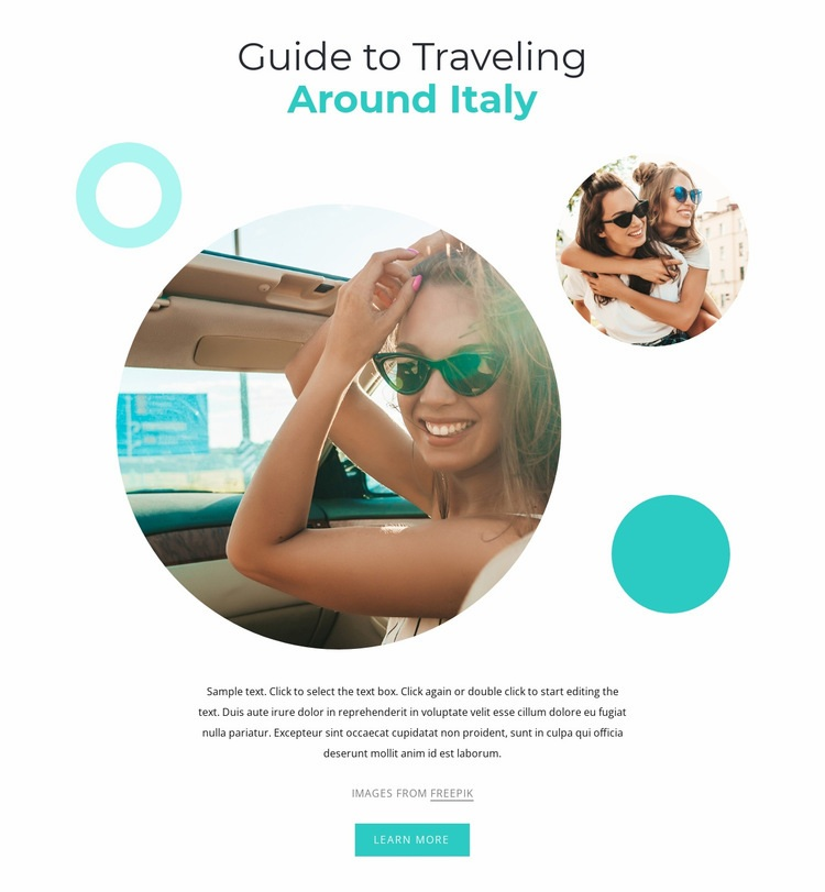 Traveling around Italy Web Page Designer
