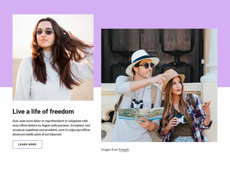 Live a life of freedom Website Mockup