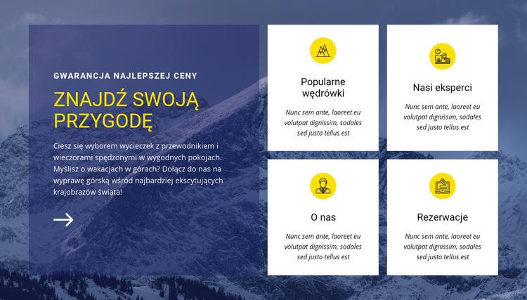 Znajdź naszą przygodę Szablon witryny sieci Web