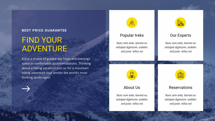 Find our adventure Landing Page