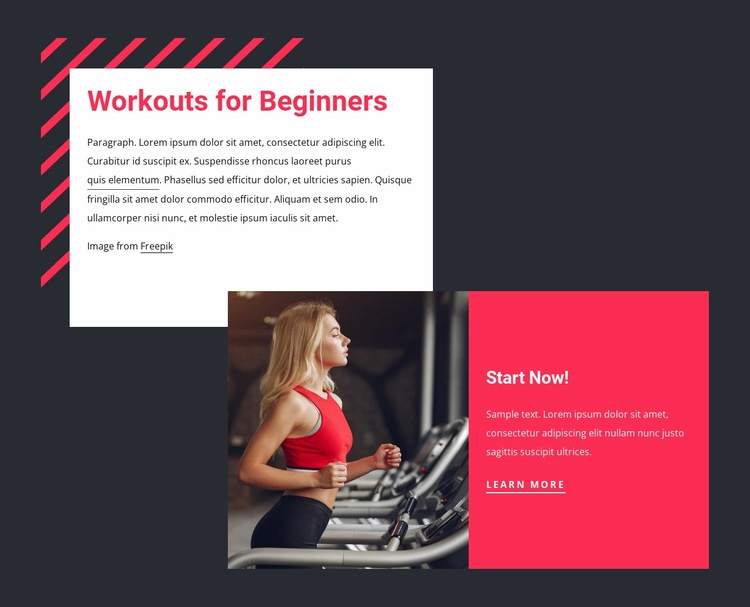 Workouts for beginners Web Page Designer