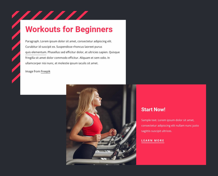 Workouts for beginners Website Mockup