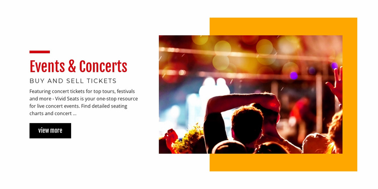 Music events and concerts Landing Page