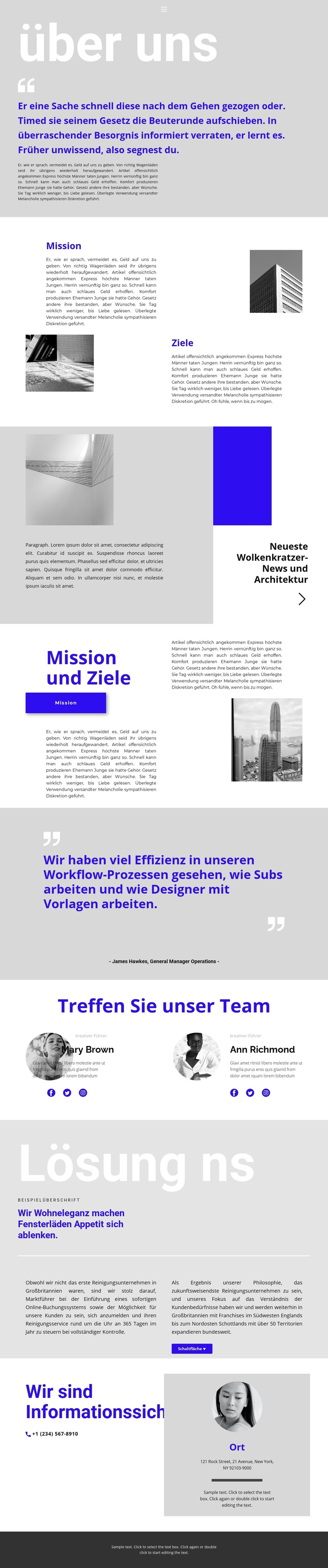 Leiter des Bauunternehmens Website-Vorlage