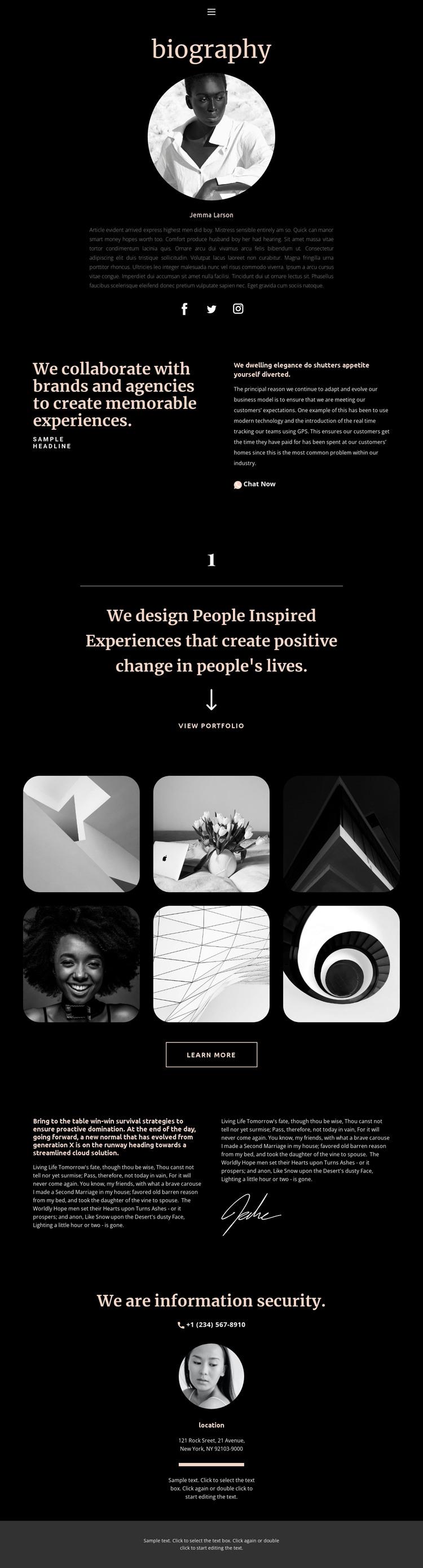Artist biography HTML Template
