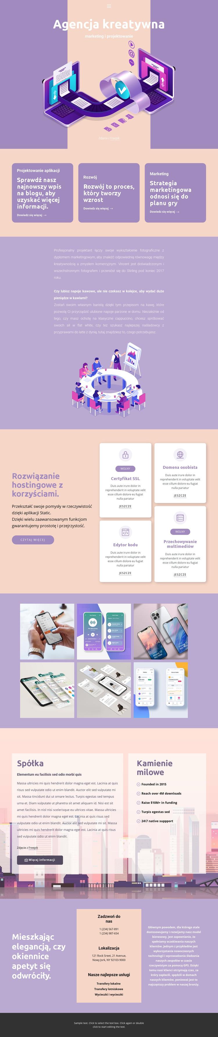Oryginalne aplikacje mobilne Szablon witryny sieci Web