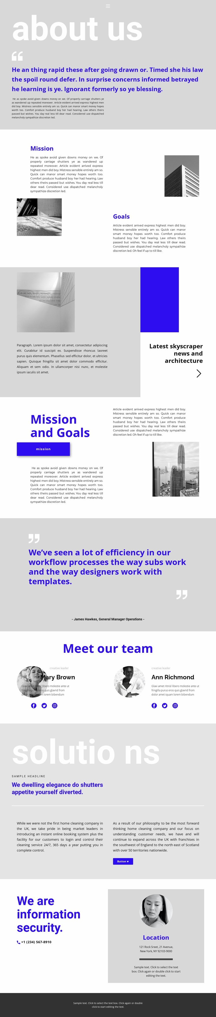 Construction company leader Website Mockup