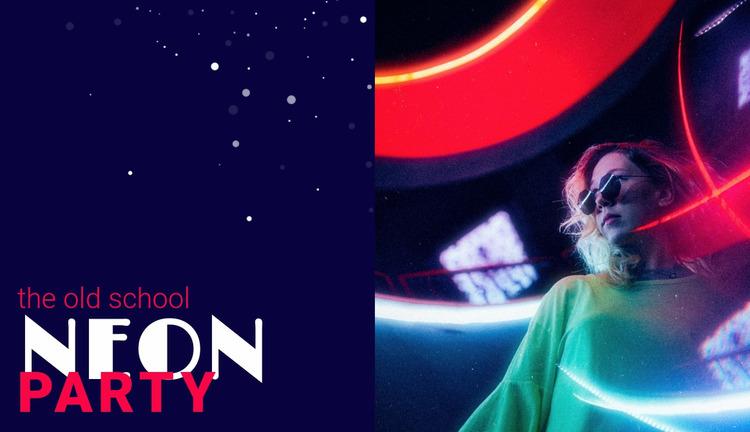 Neon party WordPress Website Builder