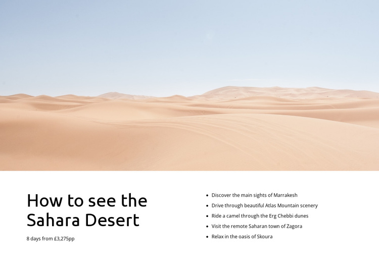 Sahara desert tours Joomla Page Builder