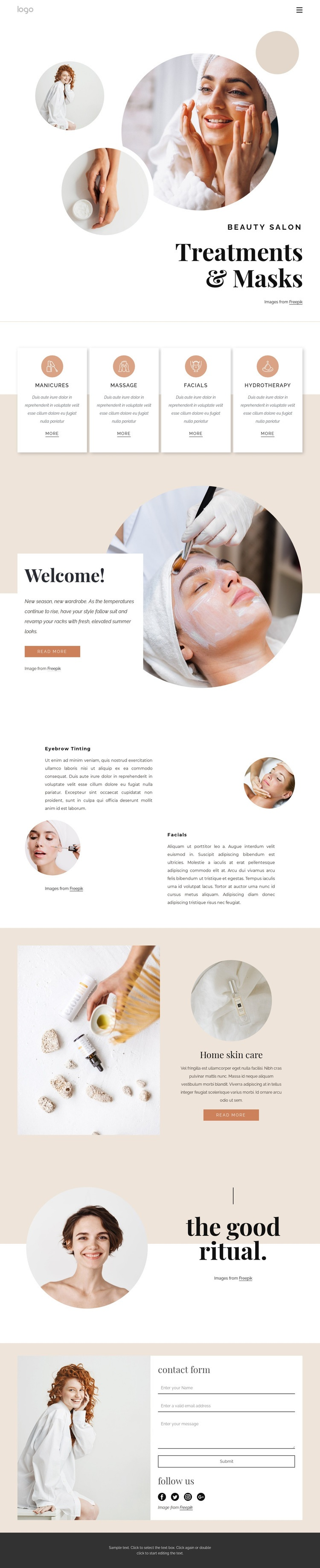 Body treatments and massages Html Code Example
