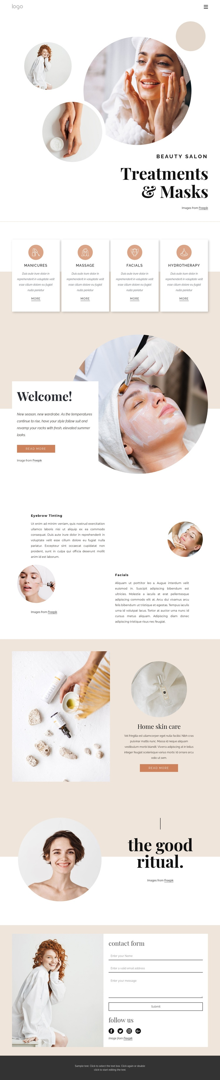 Body treatments and massages Web Page Designer
