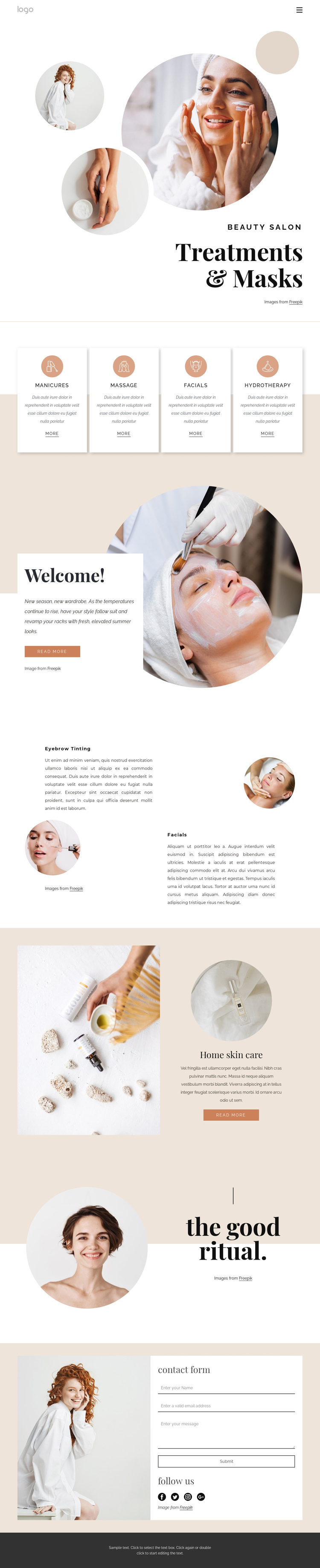 Body treatments and massages Website Builder Software