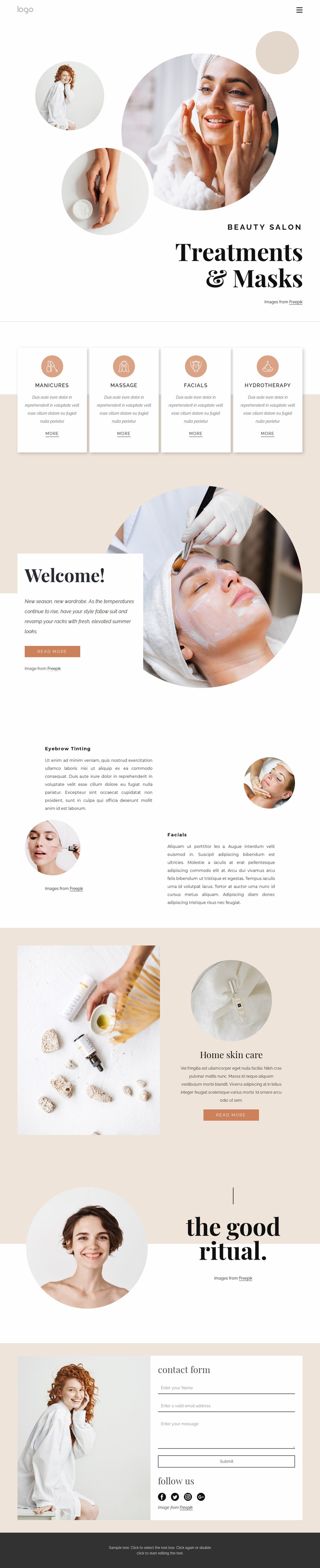Body treatments and massages Website Design