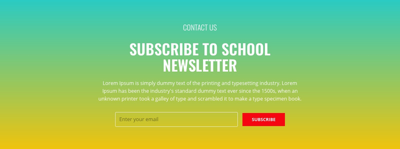Subscribe to school newsletter Web Page Design