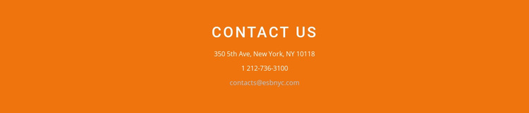 Contact information on background Website Design