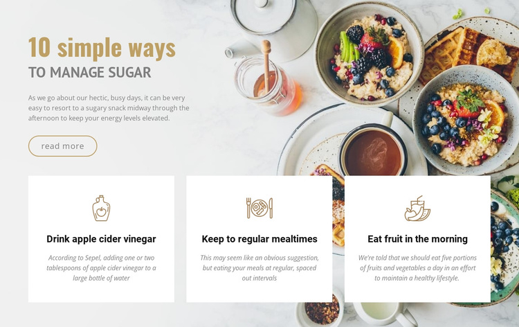 Healthy recipes and diet  Joomla Page Builder