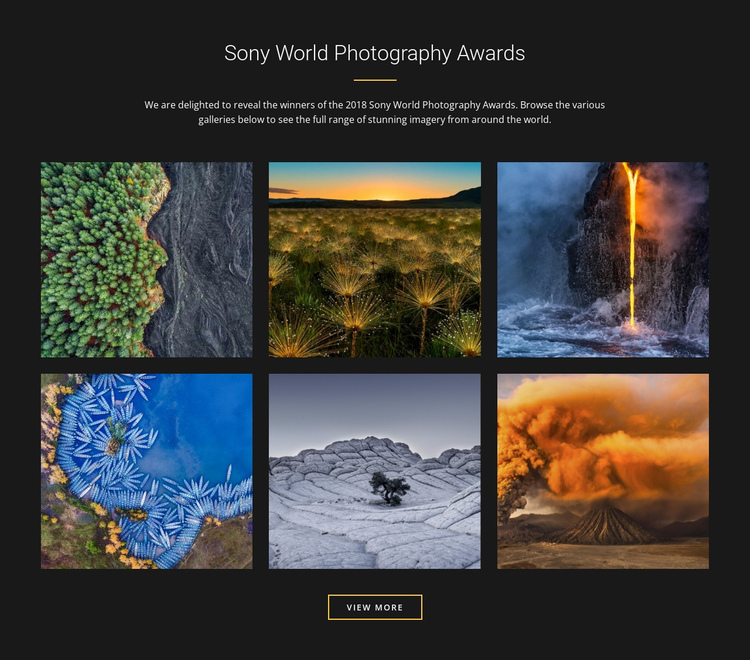 World photography awards One Page Template