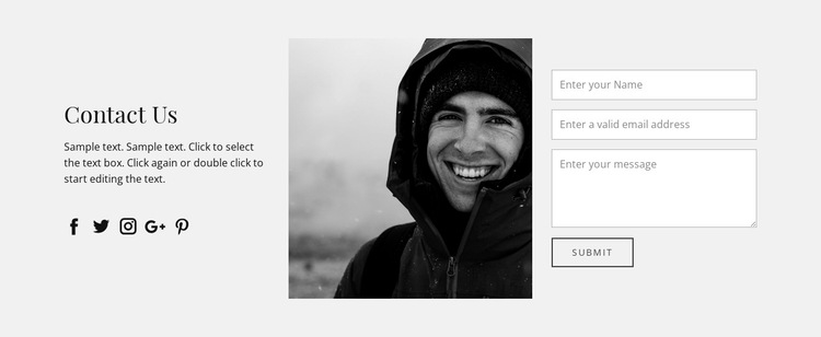Contact information and form HTML5 Template
