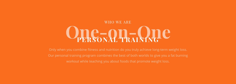 We create your personal training plan Web Page Design