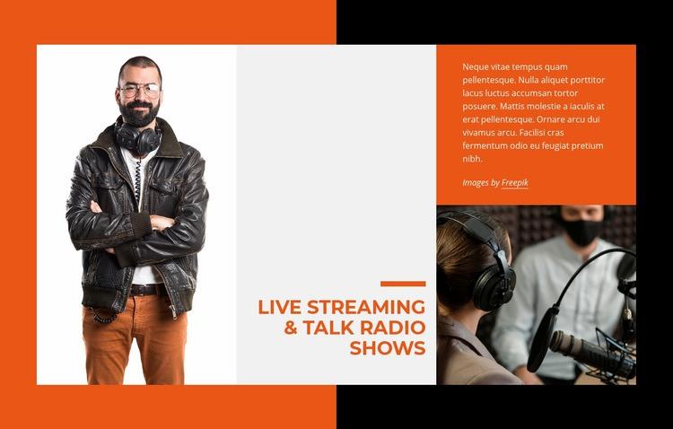 Live streaming and talk radio Web Page Designer