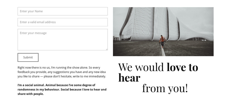 We would love to hear you One Page Template