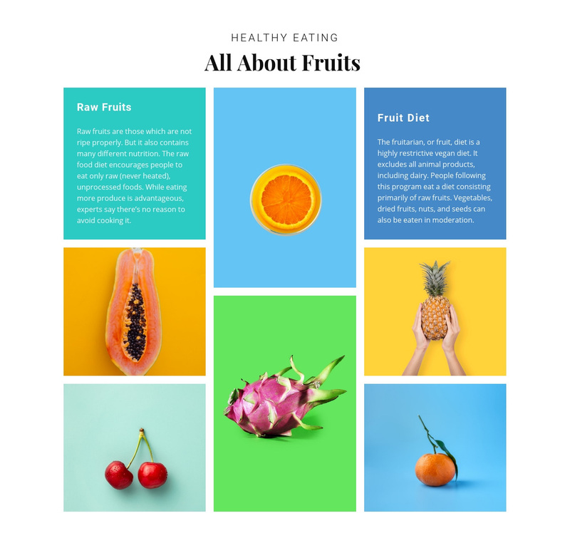 All about fruits Web Page Design