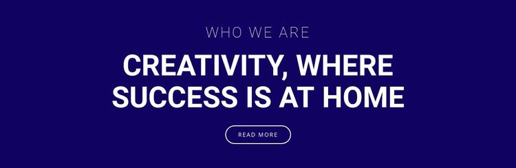 Creativity is where success is WordPress Website Builder