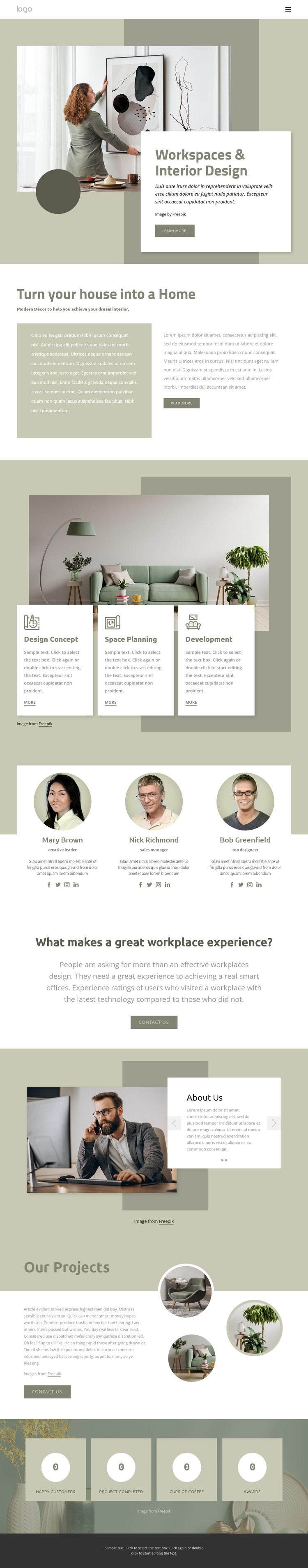 Workspaces and interior design HTML Template