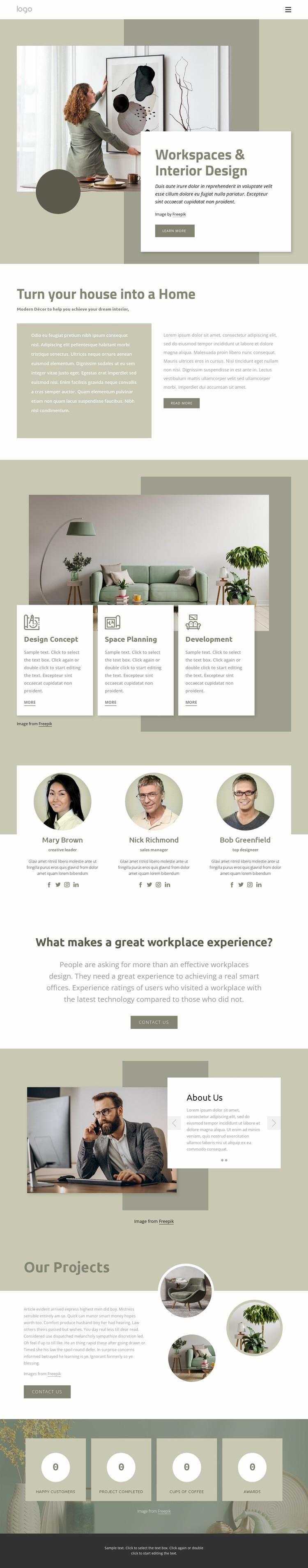 Workspaces and interior design Web Page Designer