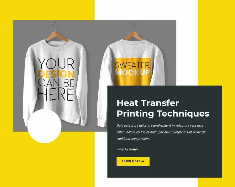 Printing technologies Website Mockup