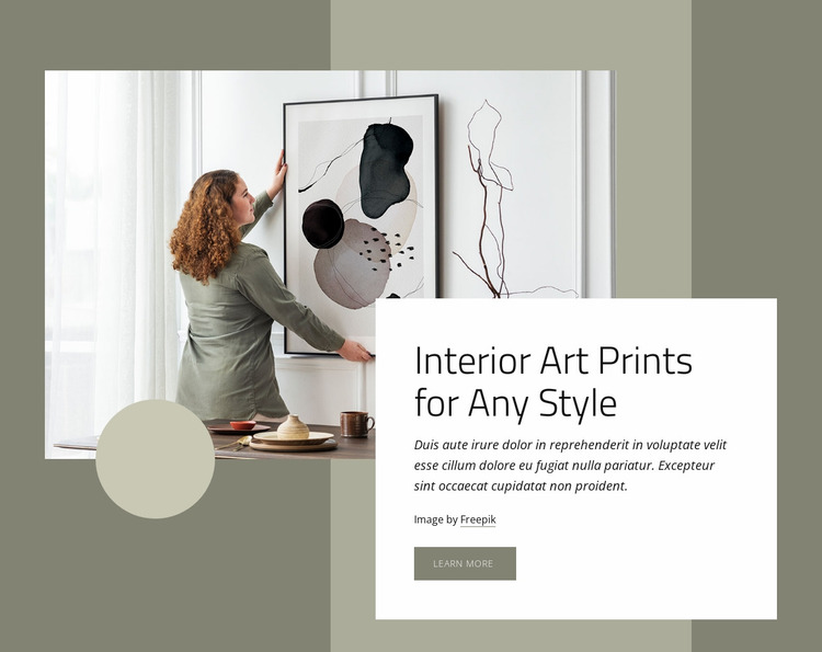 Art prints for any style Website Mockup