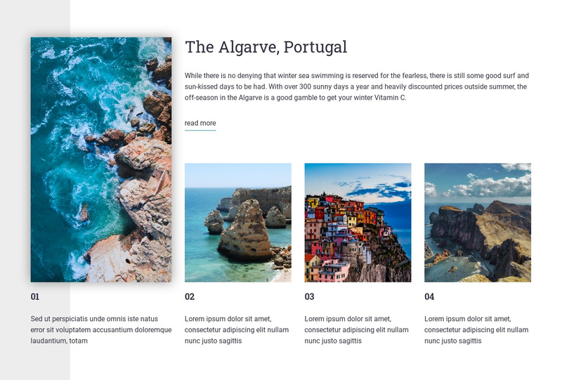 Portugal travel guide Web Page Design