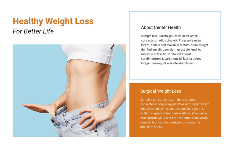 Healthcare and losing weight Web Page Design
