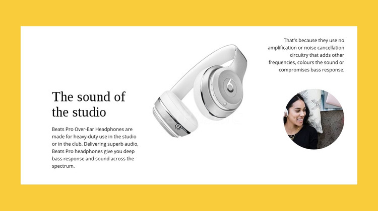 Studio wireless headphones Homepage Design