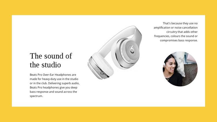Studio wireless headphones HTML Template