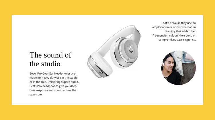Studio wireless headphones HTML5 Template
