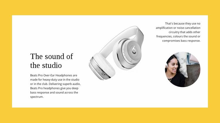 Studio wireless headphones Website Template