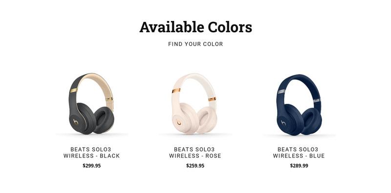 Modern headphones Web Page Design