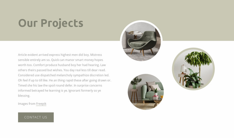 Interior projects Website Mockup