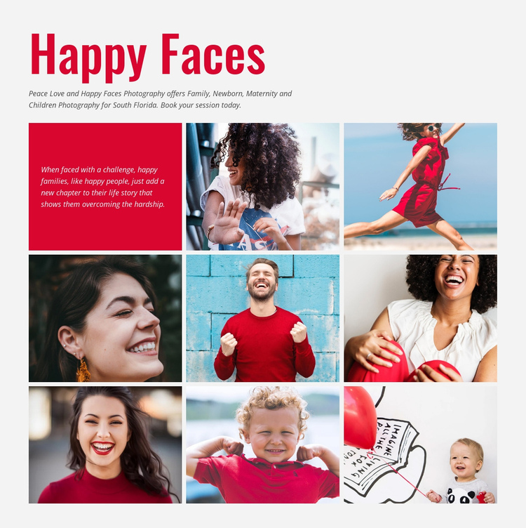 Smiling faces photography One Page Template