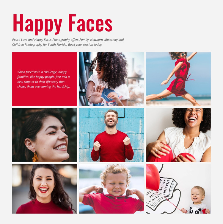Smiling faces photography Web Design