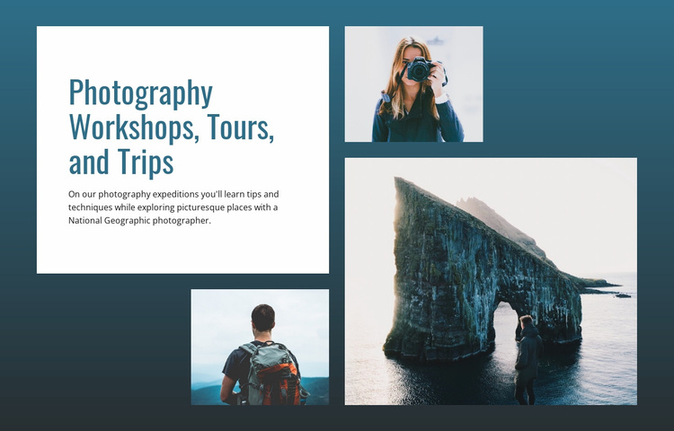 Photography tours and trips  Website Template