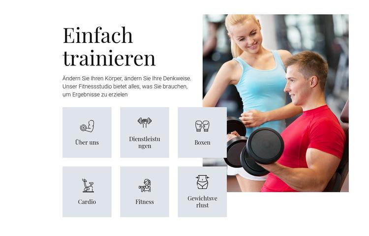 Verschiedene Trainingsprogramme Website-Vorlage