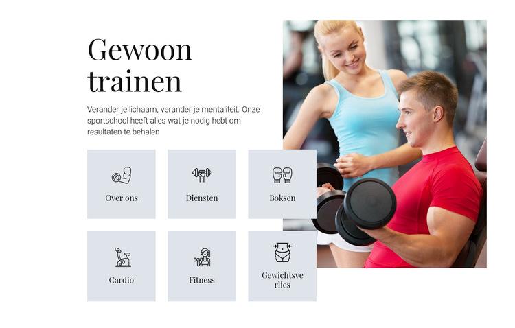 Verschillende trainingsprogramma's Website sjabloon