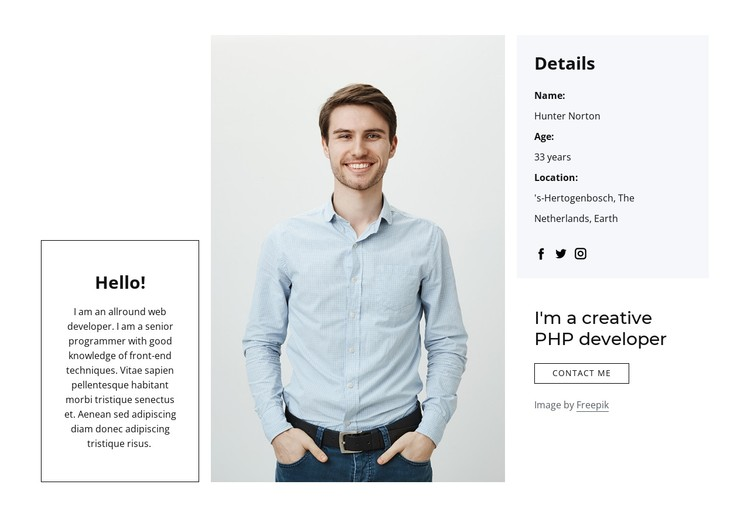 I create applications and websites CSS Template