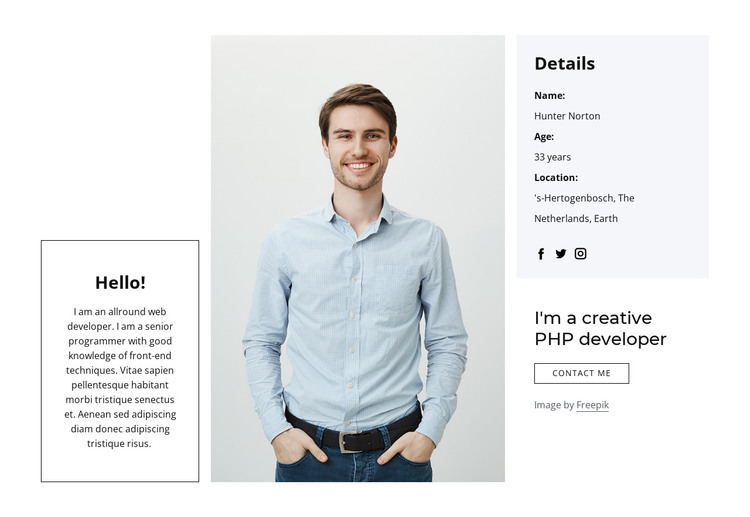 I create applications and websites HTML Template
