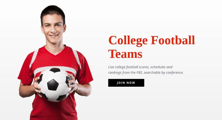 College football teams  Website Mockup
