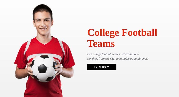 College football teams  Landing Page