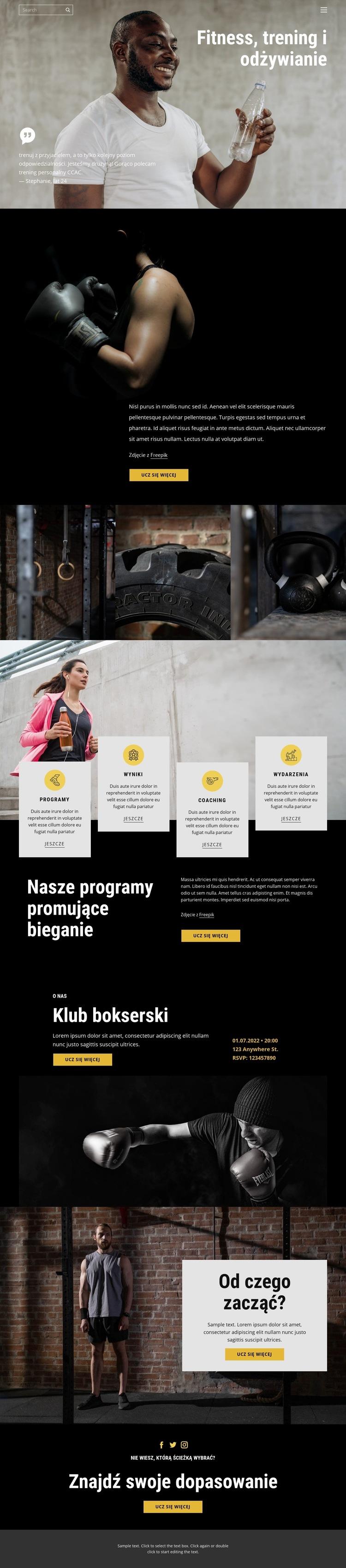 Kickboxing i crossfit Szablon witryny sieci Web